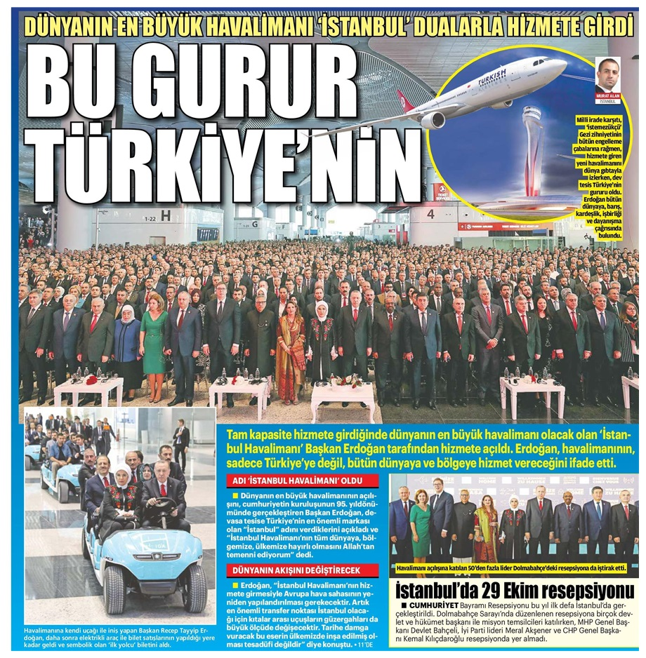 Erdoğandan Anıtkabirdeki 29 Ekim töreninde 3. havalimanı vurgusu: Tarihi açılış Türkiyenin gücünün sembolüdür 29